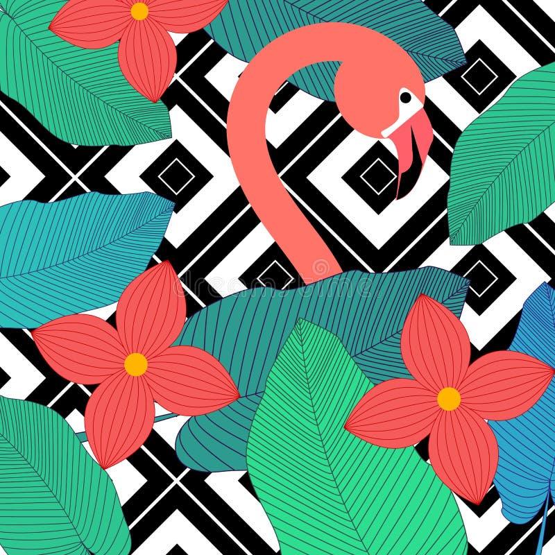 Jungle foliage illustration. Colorful tropical print. Floral vintage seamless pattern. Summer tropical illustration stock illustration