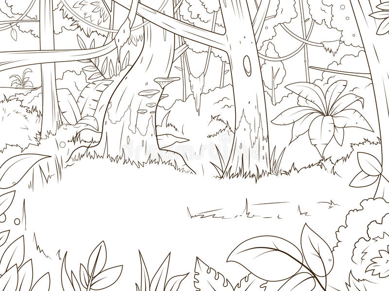 Jungle forest cartoon coloring book vector vector illustration