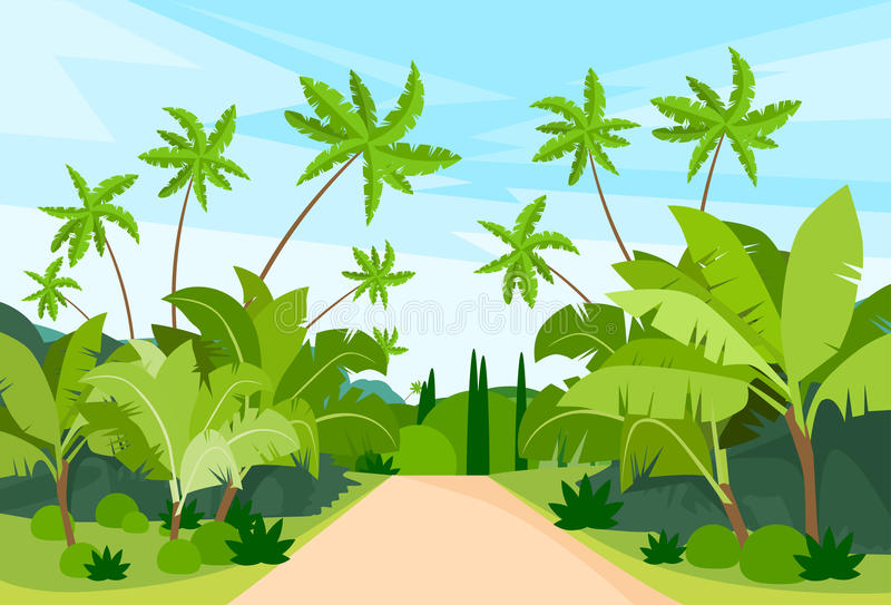 Jungle Forest Green Landscape avec le chemin de route illustration libre de droits