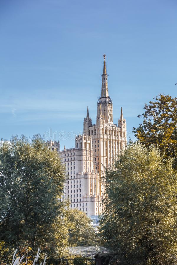 Jungle of glass and concrete. Part of town. urban landscape. Moscow. Megalopolis. At home. Architecture. Landscape of the city. Stalin empire style royalty free stock photo