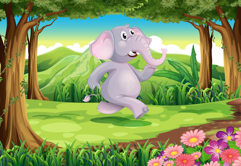 A jungle with a gray elephant. Illustration of a jungle with a gray elephant stock illustration