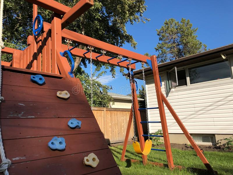 Jungle Gym in a Backyard stock image
