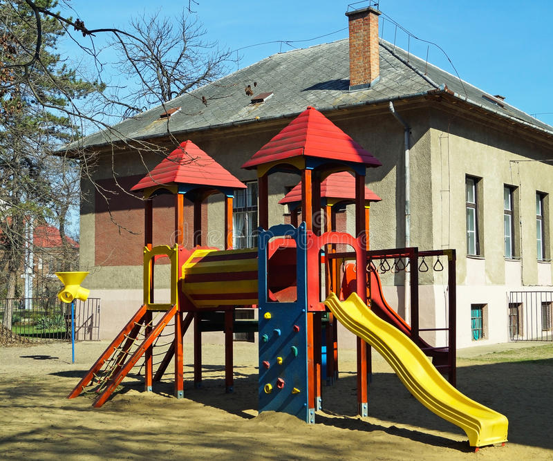Jungle Gym In The Backyard Of The Kindergarten Stock Image Image - Backyard jungle gyms