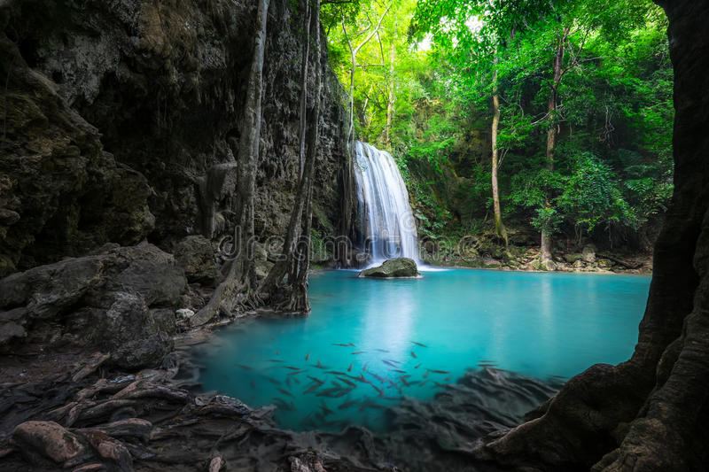 Jungle landscape with Erawan waterfall. Kanchanaburi, Thailand. Jungle landscape with flowing turquoise water of Erawan cascade waterfall at deep tropical rain royalty free stock image