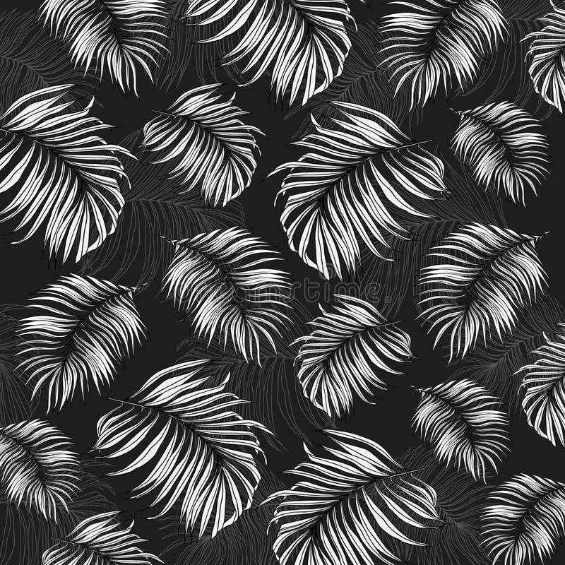 Jungle Leaves Drawing Pattern stock illustration