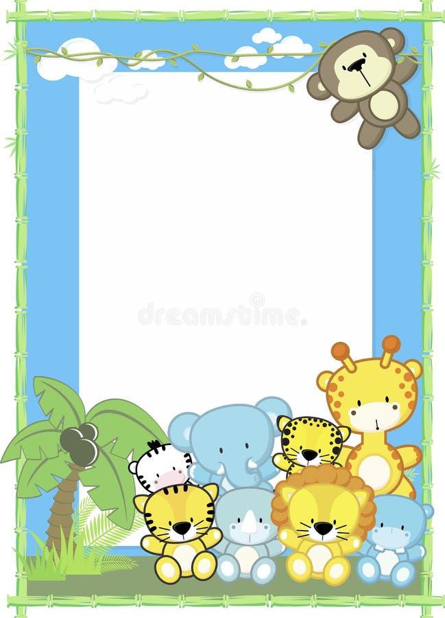 Jungle mignonne d'animaux de bébé illustration libre de droits