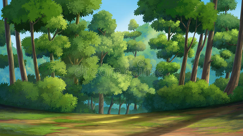 Jungle in the morring. Illustration of an outdoor in the jungle and natural royalty free illustration