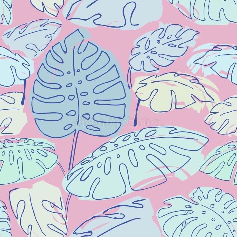 Jungle palm leaves pattern royalty free illustration