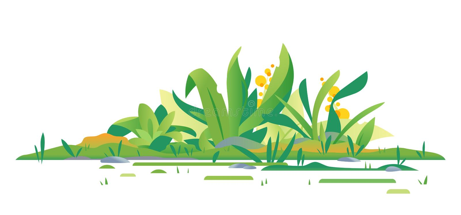 Jungle plants green composition isolated. Different exotic green plants on ground with grass and stones, composition of plants on the sunny lawn isolated vector illustration