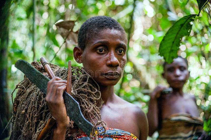 Download Jungle Portrait Of A Woman From Baka Tribe Pygmies Editorial Stock Image