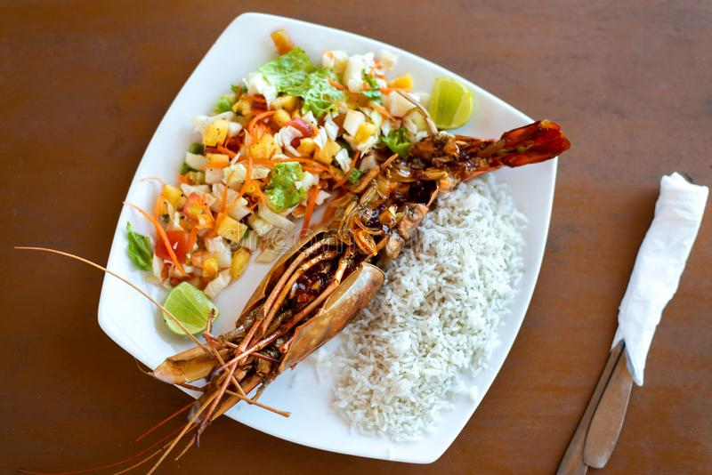 Jungle prawn with rice on a plate royalty free stock images