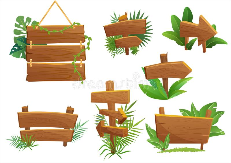Jungle rainforest wood sign with tropical leaves with space for text. Cartoon game vector illustration. Jungle rainforest wood sign with tropical leaves with vector illustration