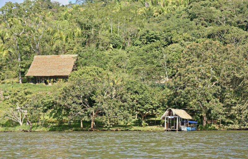Jungle retreat. Tourists jungle accomodation and tropical forest at laguna azul, sauce, laguna azul, tarapoto, san martin, Peru stock images