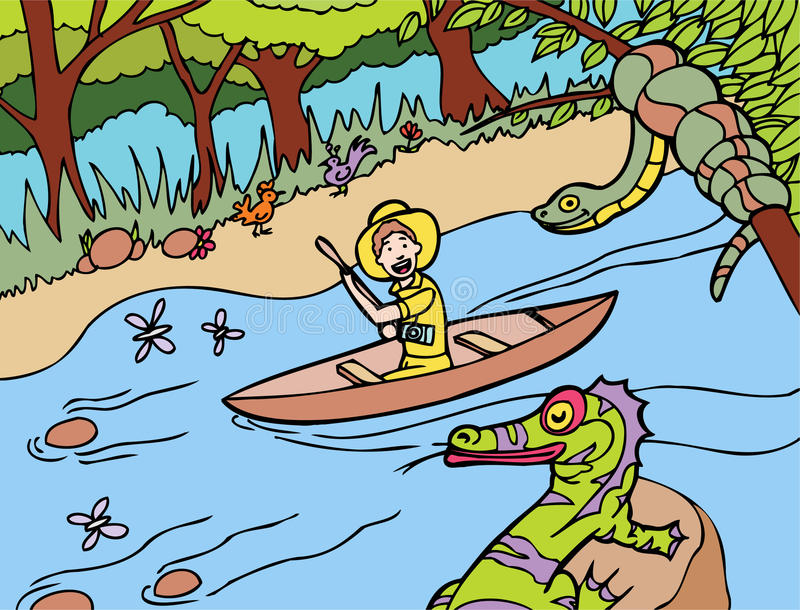 Jungle River Ride vector illustration