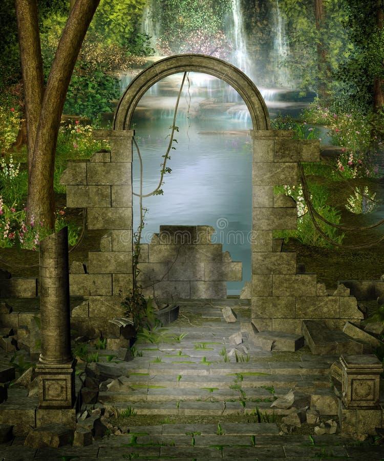 Jungle ruins. Fantasy scenery with ruins in a jungle