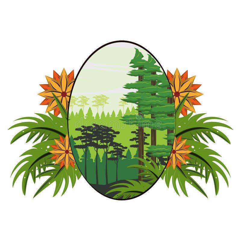 Jungle scenery cartoon. Jungle scenery landscape cartoon round frame vector illustration graphic design vector illustration