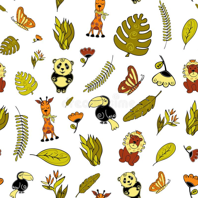 Jungle Seamless background, Africa. Animals, birds and tropical vector illustration
