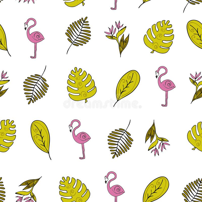 Jungle Seamless background, Africa, flamingo , monstera and tropical plants vector illustration