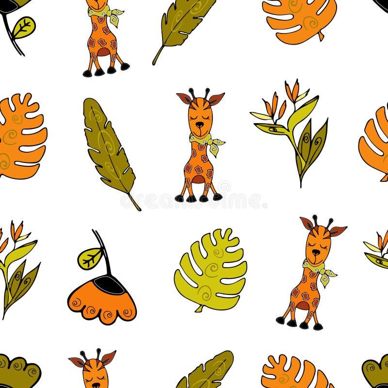 Jungle Seamless background, Africa, giraffe, monsera and tropi stock illustration