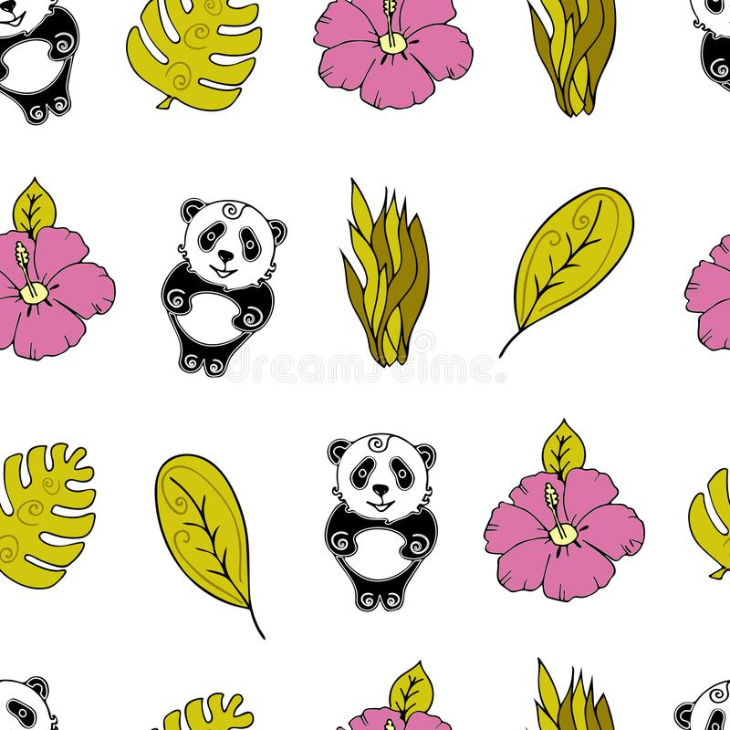 Jungle Seamless background, Africa, panda, monstera and tropica royalty free illustration