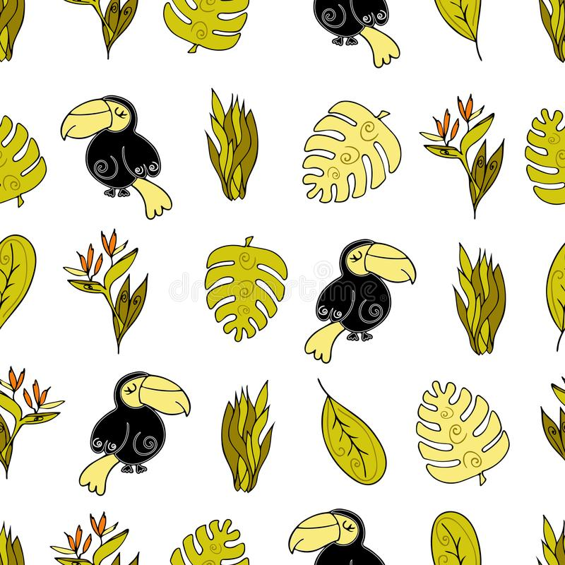 Jungle Seamless background, Africa. Toucan bird , monstera a royalty free illustration