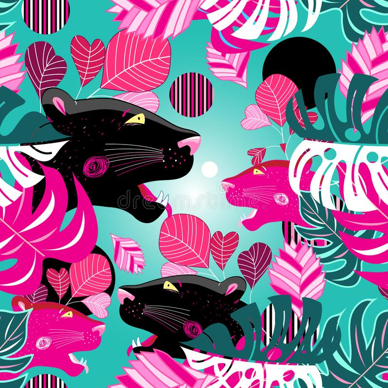 Jungle seamless vector multicolored pattern with portraits of pa stock illustration