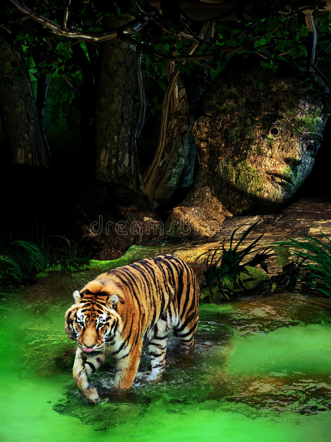 Jungle secrets. Tiger walking in water, close to the jungle covering the ruins of an ancient construction stock illustration