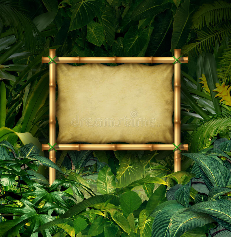 Jungle Sign. Blank billboard concept as a bamboo banner in a tropical plant forest full of green vegetation as a symbol of nature communication or environmental stock illustration