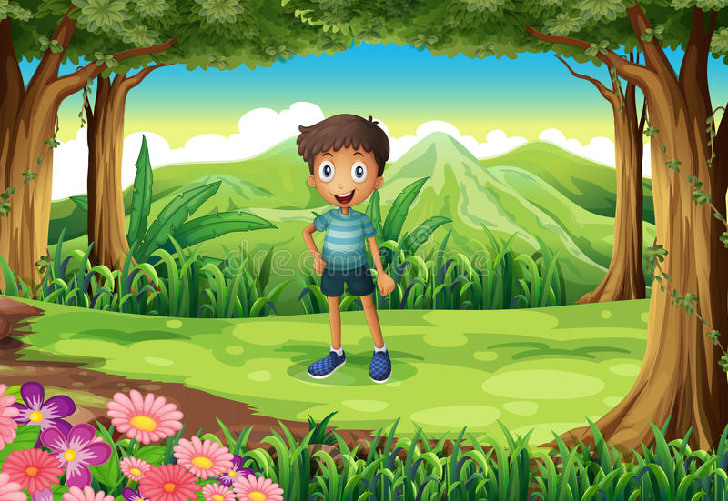 A jungle with a smiling little boy. Illustration of a jungle with a smiling little boy vector illustration