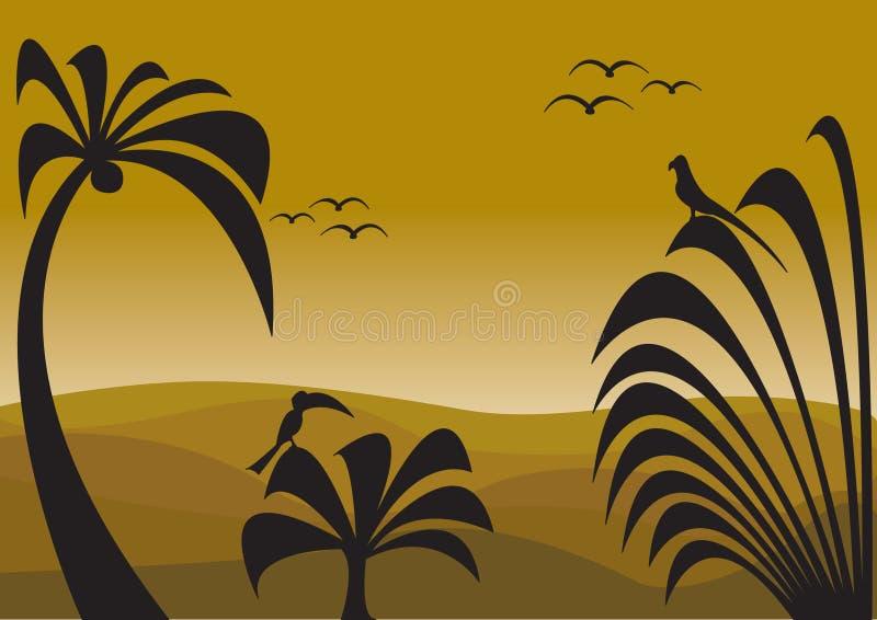 Jungle sunset vector illustration