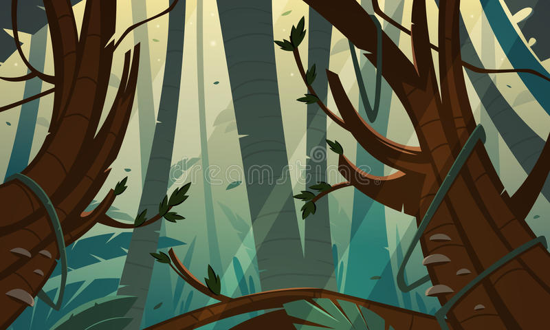Jungle tropicale de forêt tropicale illustration de vecteur