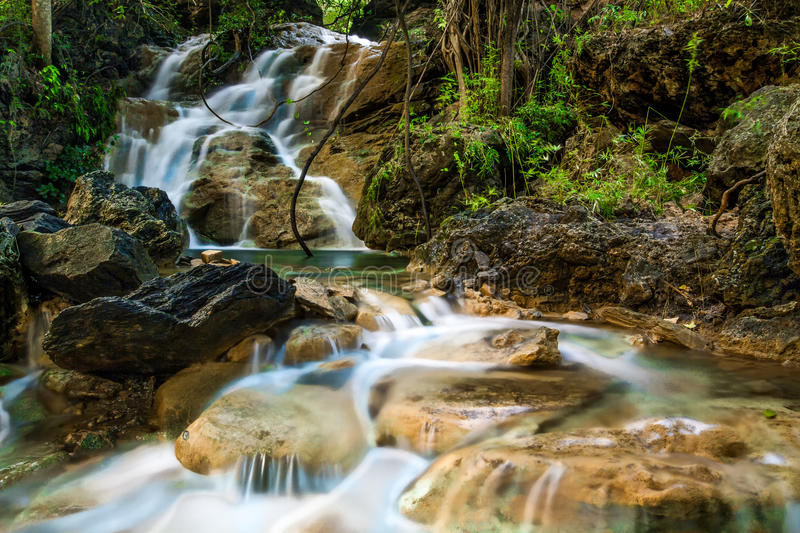 Jungle Waterfall. This Waterfall inside Jungle in Thailand can be visit very easy. It is located in Suphanburi Province close to Uthong. Thai people use this royalty free stock images
