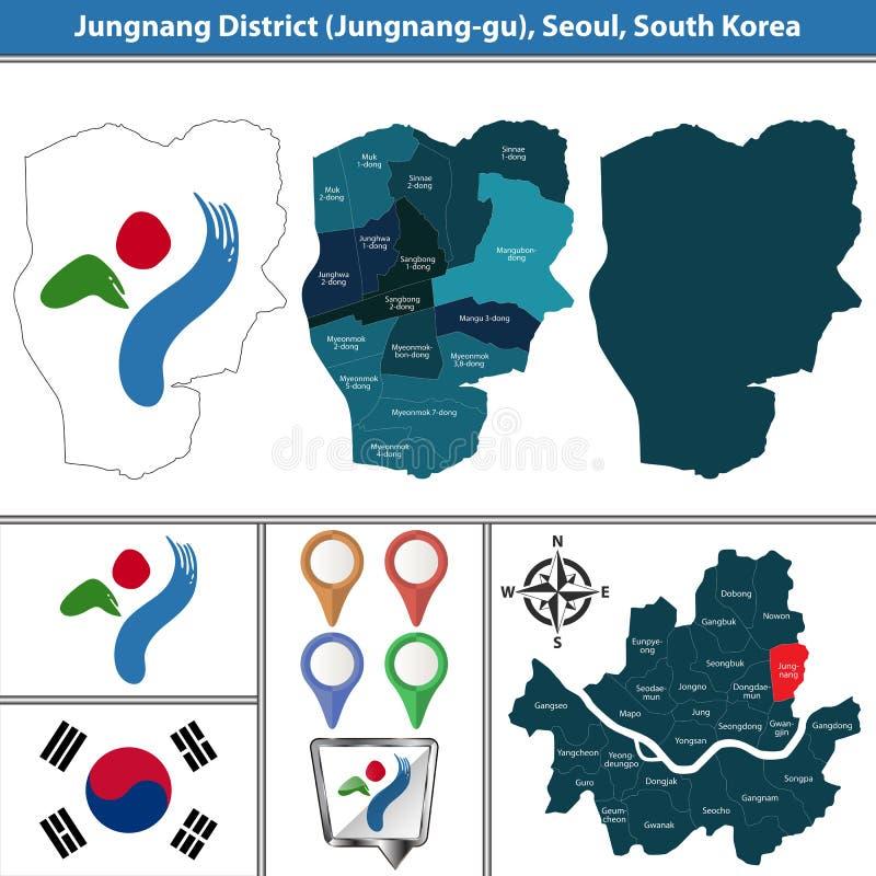 Jungnangdistrict, de Stad van Seoel, Zuid-Korea stock illustratie