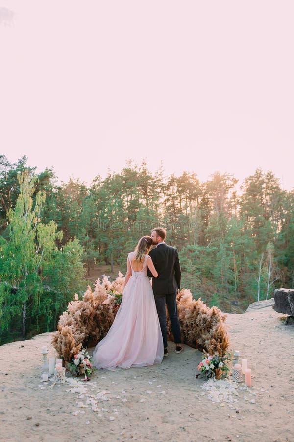 Jungvermählten, die am Rand der Schlucht mit Weichheit und Liebe umfassen Rückseitige Ansicht Draußen heiratend stockfotografie