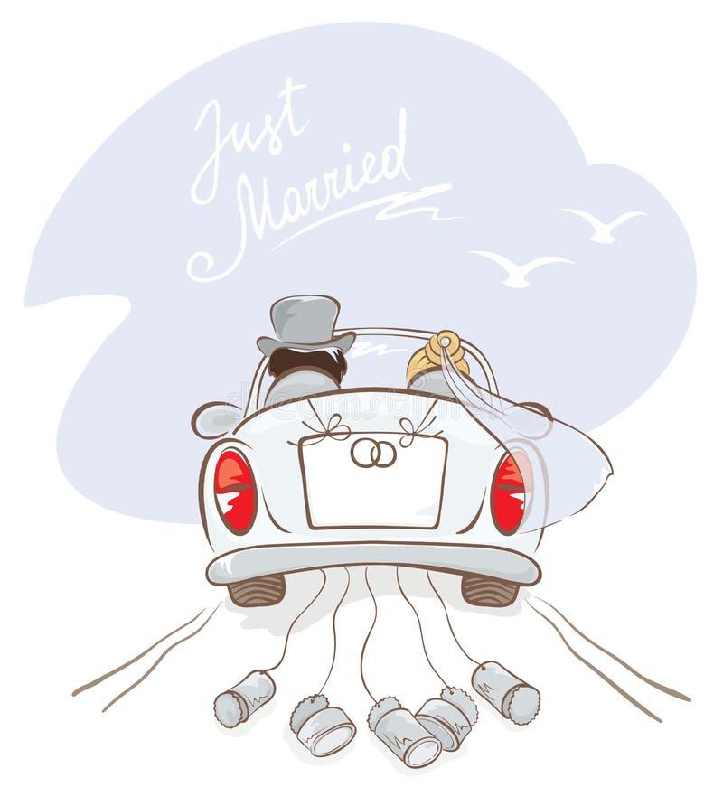 Jungvermählten in einem Auto stock abbildung