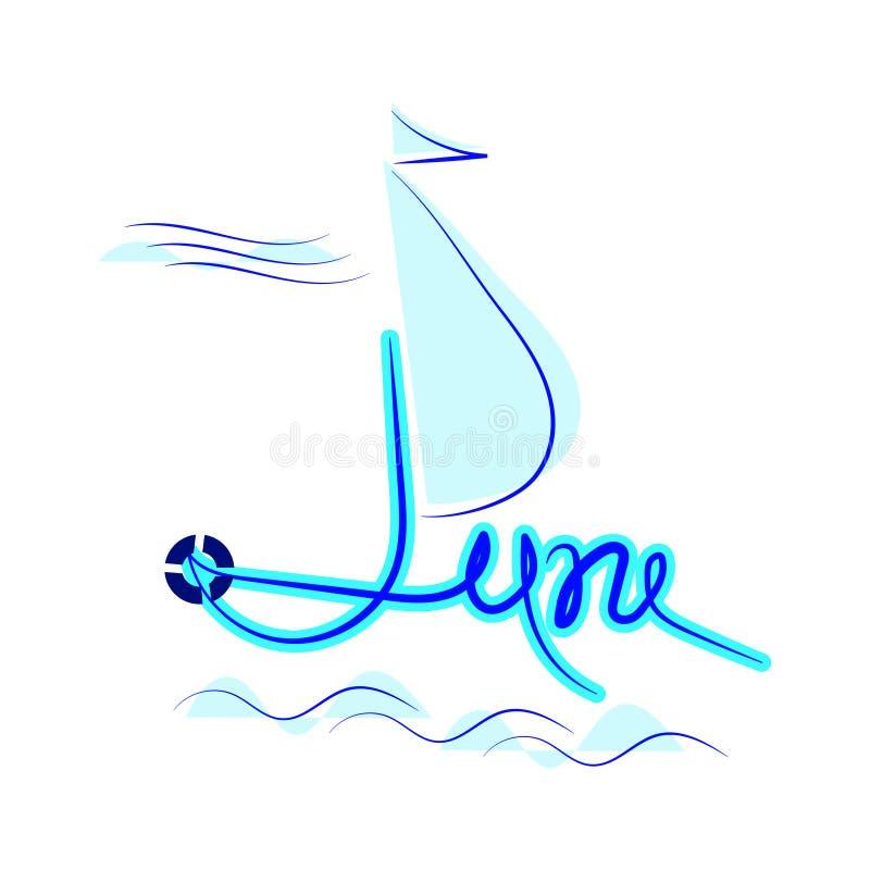 junho, ilustra??o lisa no fundo branco Iate no mar ilustração royalty free
