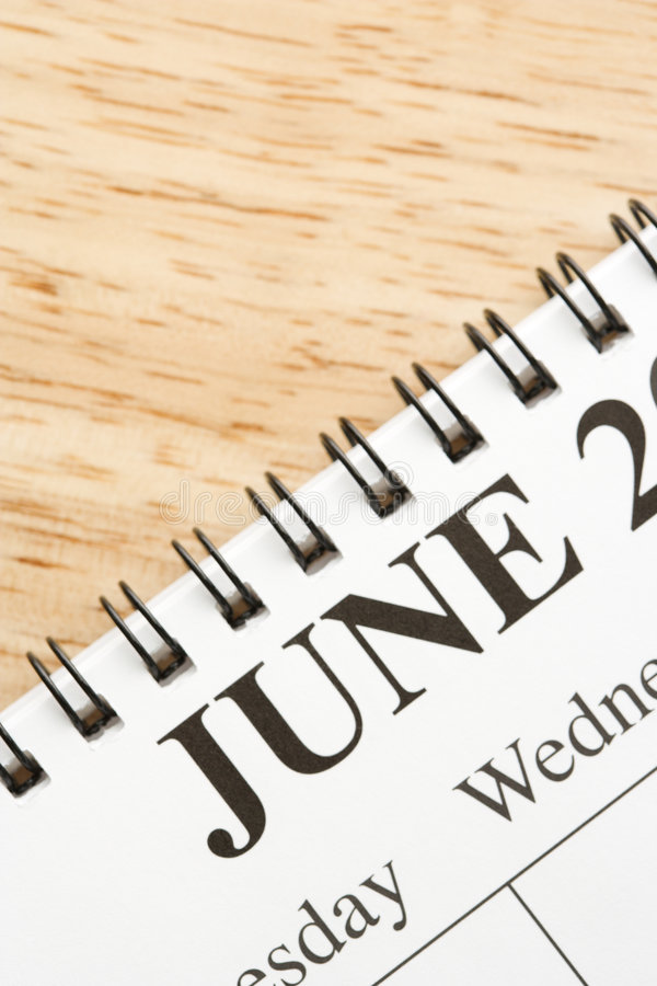Juni auf Kalender. lizenzfreies stockbild