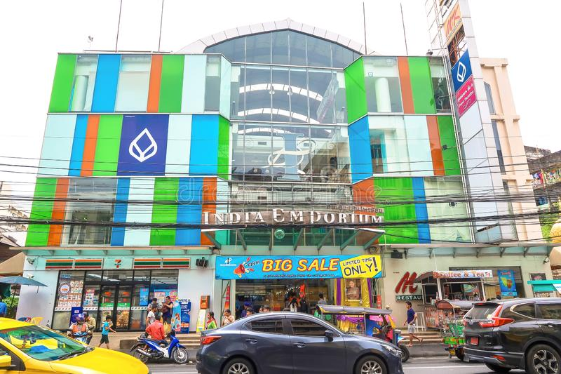 29. JUNI 2019 BANGKOK, THAILAND: Indien-Handelszentrumeinkaufszentrum in Phahurat, Bangkok, Thailand lizenzfreie stockfotos
