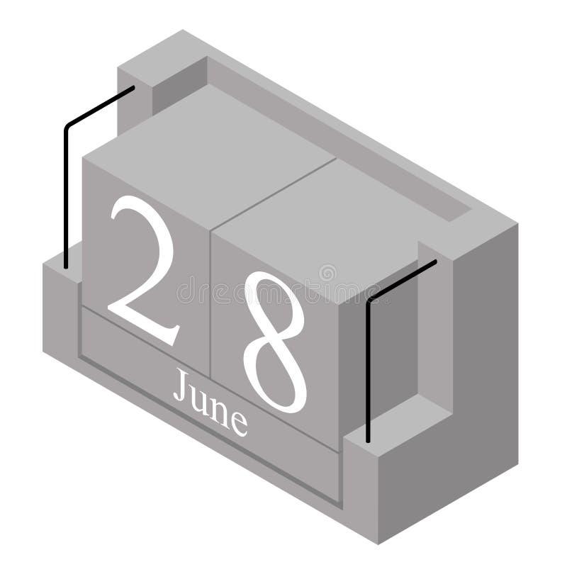 28. Juni Datum an einem Kalender des einzigen Tages Anwesendes Datum 28 des grauen h?lzernen Kalenderblocks und Monat Mai lokalis vektor abbildung
