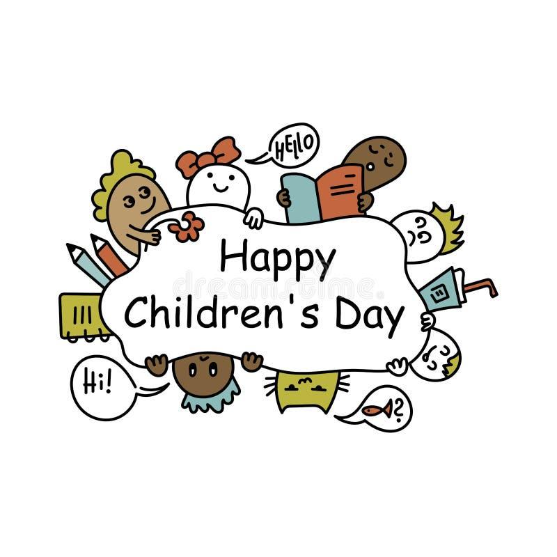 1 juni De dag van kinderen ` s Getrokken krabbelhand stock illustratie