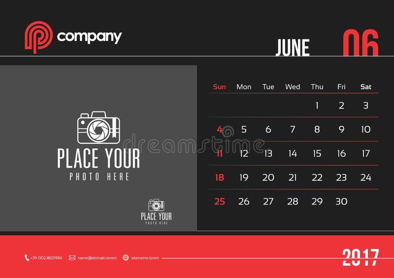 Juni-de Zondag van het het Ontwerp 2017 Begin van de Bureaukalender vector illustratie