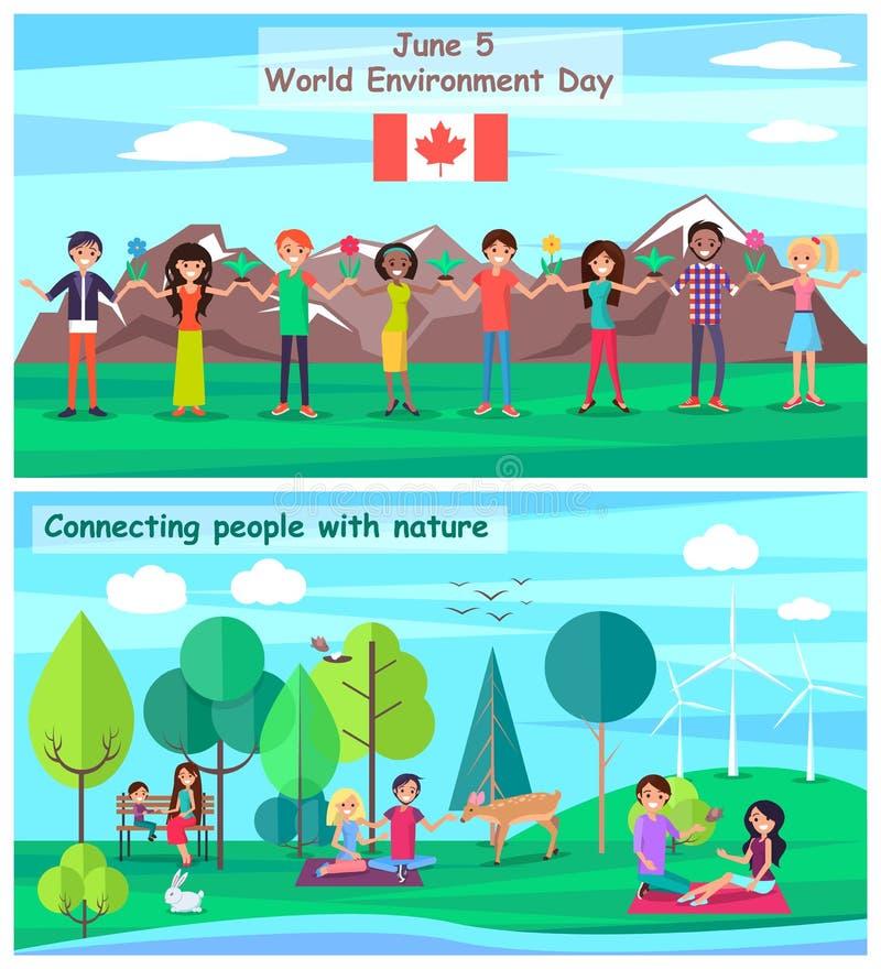 Juni 5 förbindande folk med naturuppsättningaffischer vektor illustrationer