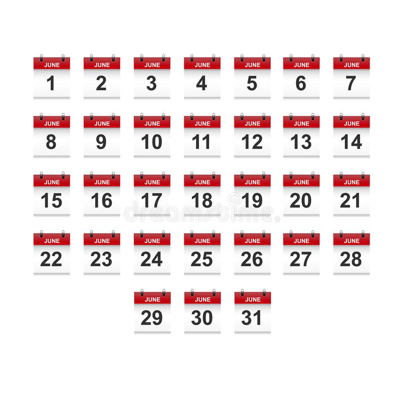 Juni-het vectorart. van de kalender 1-31 illustratie vector illustratie