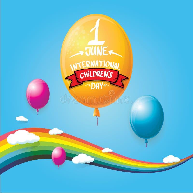 1 juni internationella barns bakgrund f?r dag lyckligt kort f?r barndagh?lsning med ballonger, himmel, regnb?gen och moln stock illustrationer