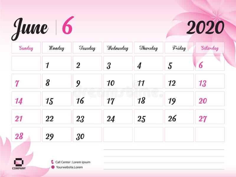 Juni 2020 Jahr-Schablone, Kalender-2020 Vektor, Tischkalender-Entwurf, rosa Blumenkonzept für Kosmetik, Schönheit, Badekurort, Ge stock abbildung