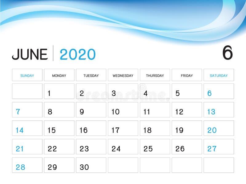 JUNI 2020 Jahr-Schablone, Kalender-2020 Vektor, Tischkalender-Entwurf, Wochen-Anfang am Sonntag, Planer, Briefpapier, Drucken lizenzfreie abbildung