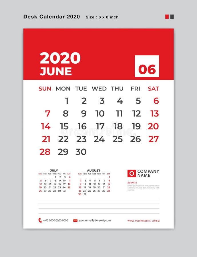 JUNI 2020 Jahrschablone, Tischkalender für 2020-jähriges, Wochenanfang am Sonntag, Planer, Briefpapier, rotes Konzept, vertikaler stock abbildung