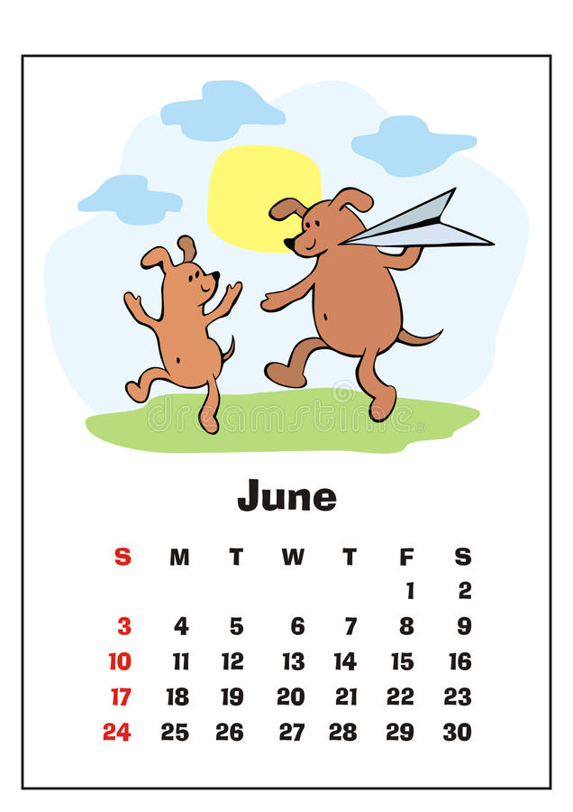 Juni 2018 kalender stock illustrationer