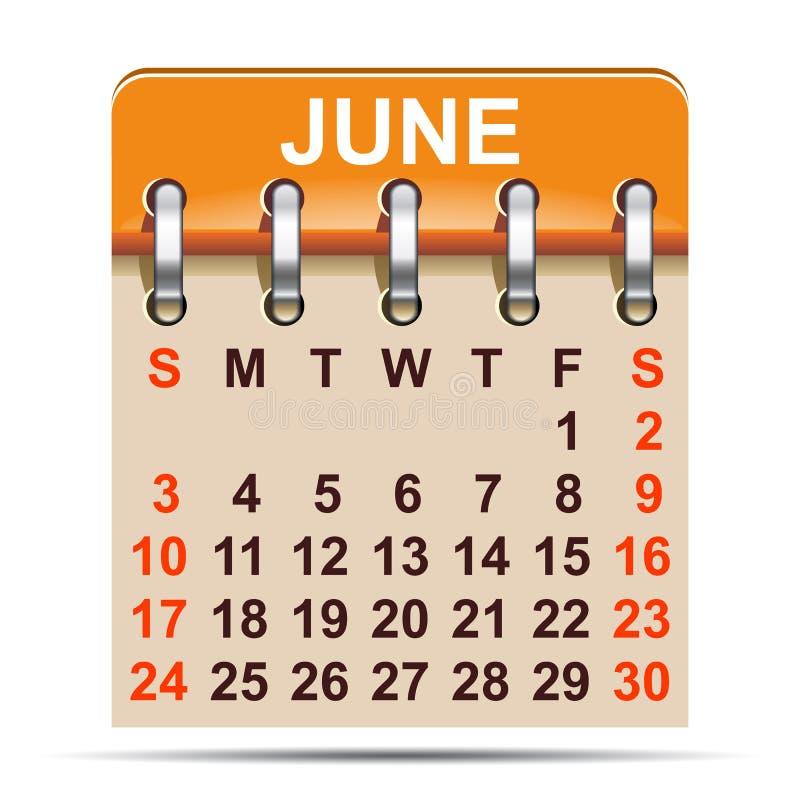 Juni kalender av 2018 år - stock illustrationer