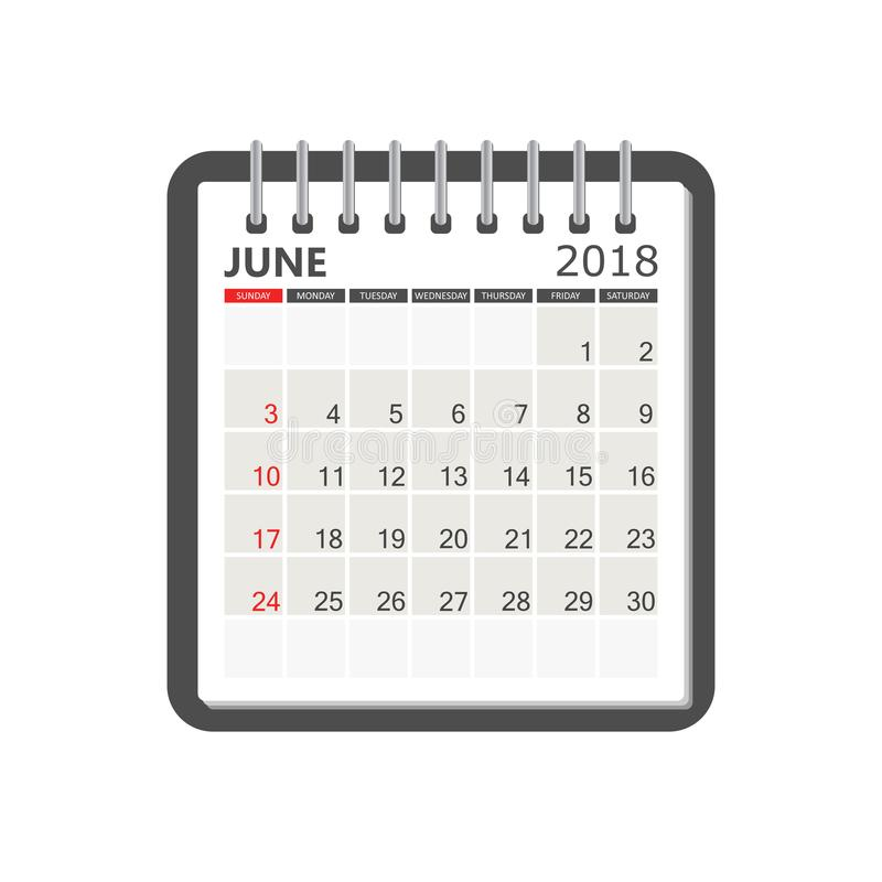 Juni 2018 kalender Mall för kalenderanteckningsboksida Veckastarter stock illustrationer